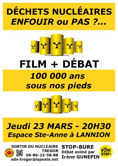 Affiche Débat enfouissement déchets nucléaires - 23-03-2017