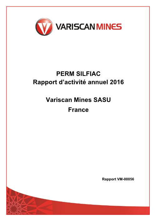 Rapport d'activité 2016 - Variscan Mines