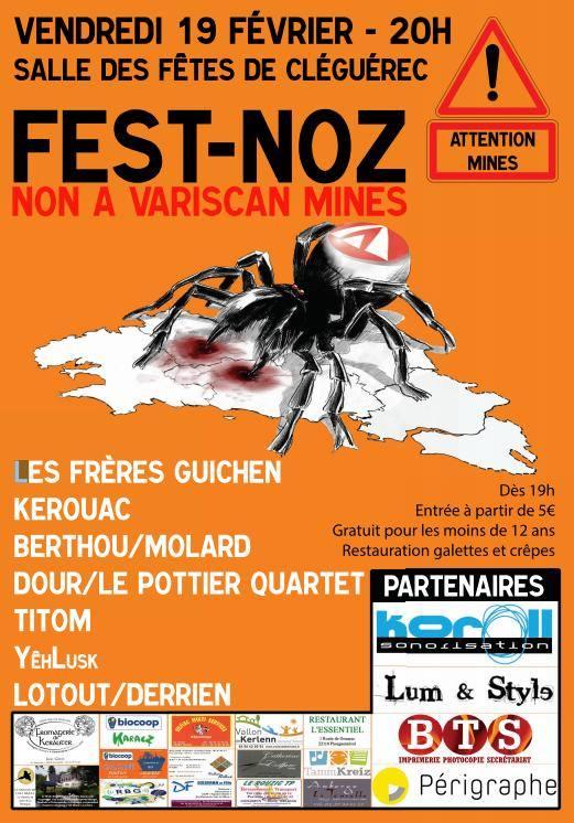 Affiche fest noz - Cléguérec le 19-02-2016