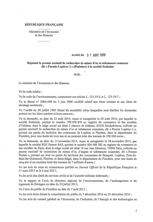 Rejet PER Lopérec 31-08-2018