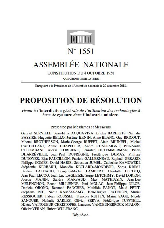 proposition de loi sur l'interdiction du cyanuer