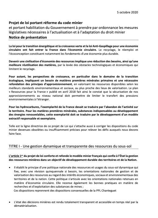 Projet réforme code minier