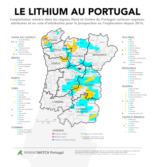 Carte Porspections minières au Portugal